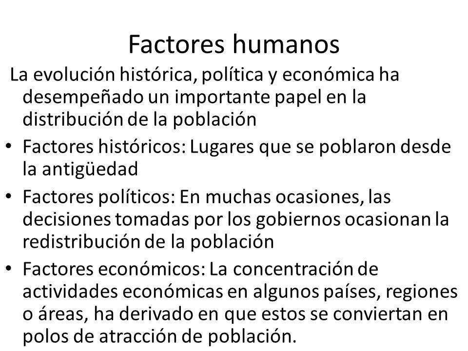 Factores humanos La evolución histórica, política y económica ha desempeñado un importante papel en la distribución de la población.