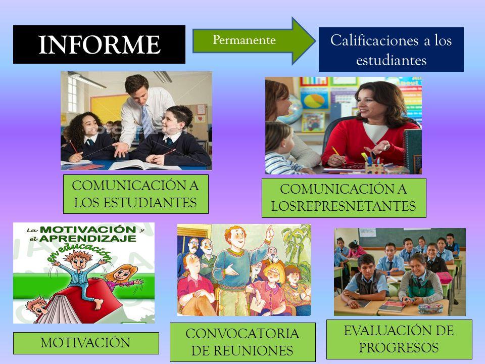 INFORME Calificaciones a los estudiantes