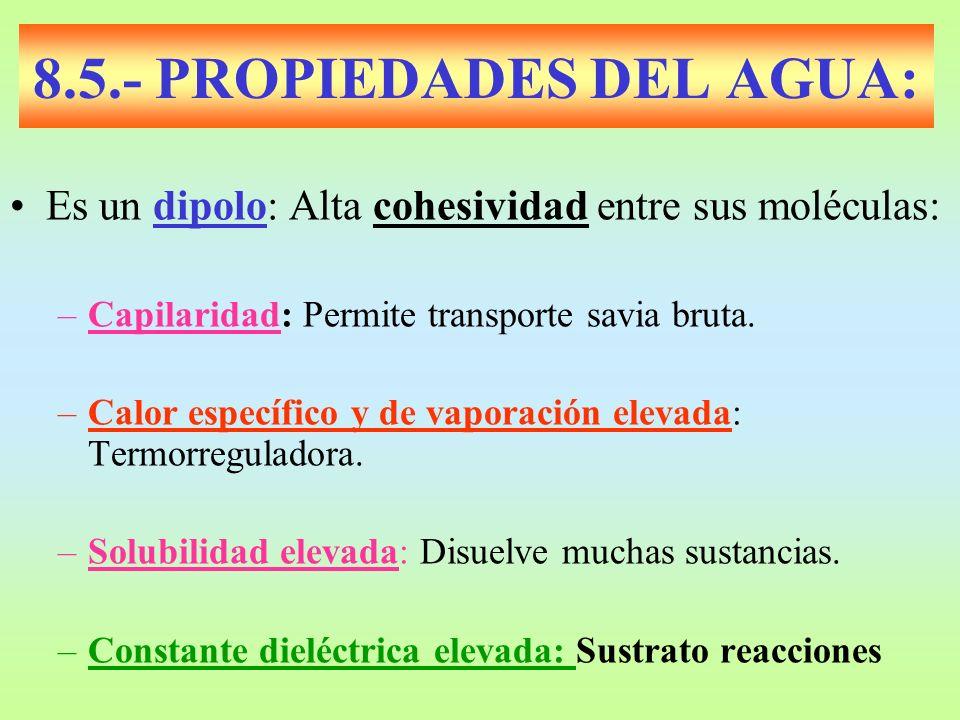 8.5.- PROPIEDADES DEL AGUA: