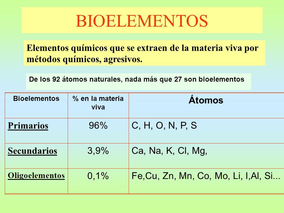 BIOELEMENTOS Elementos químicos que se extraen de la materia viva por métodos químicos, agresivos.