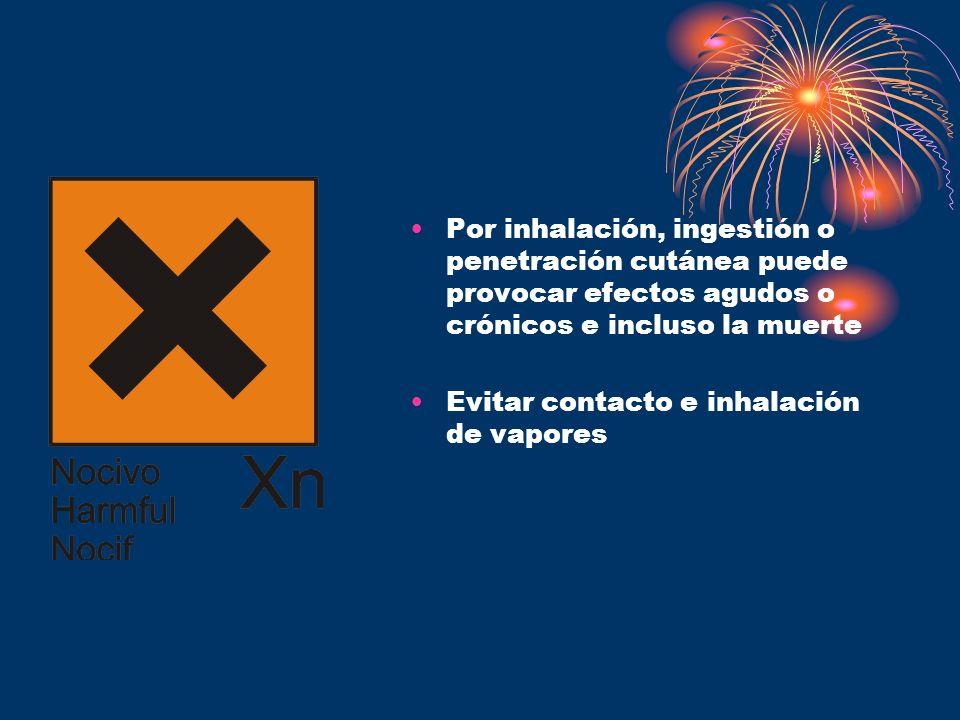 Por inhalación, ingestión o penetración cutánea puede provocar efectos agudos o crónicos e incluso la muerte