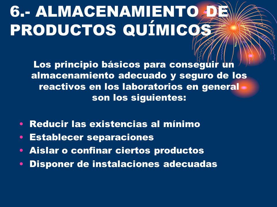 6.- ALMACENAMIENTO DE PRODUCTOS QUÍMICOS