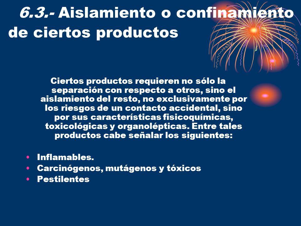 6.3.- Aislamiento o confinamiento de ciertos productos