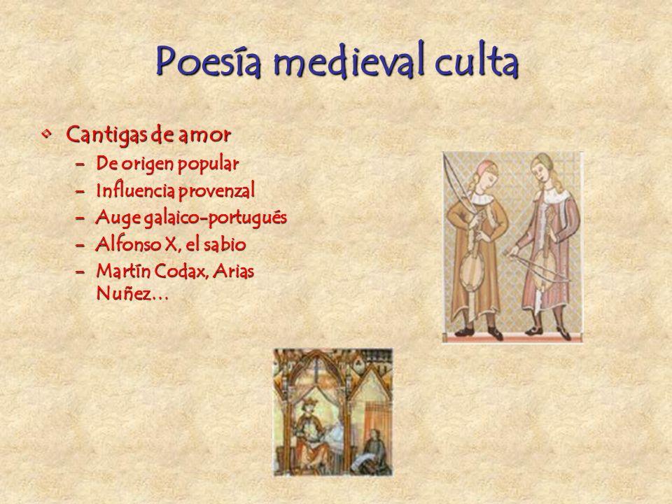 Poesía medieval culta Cantigas de amor De origen popular