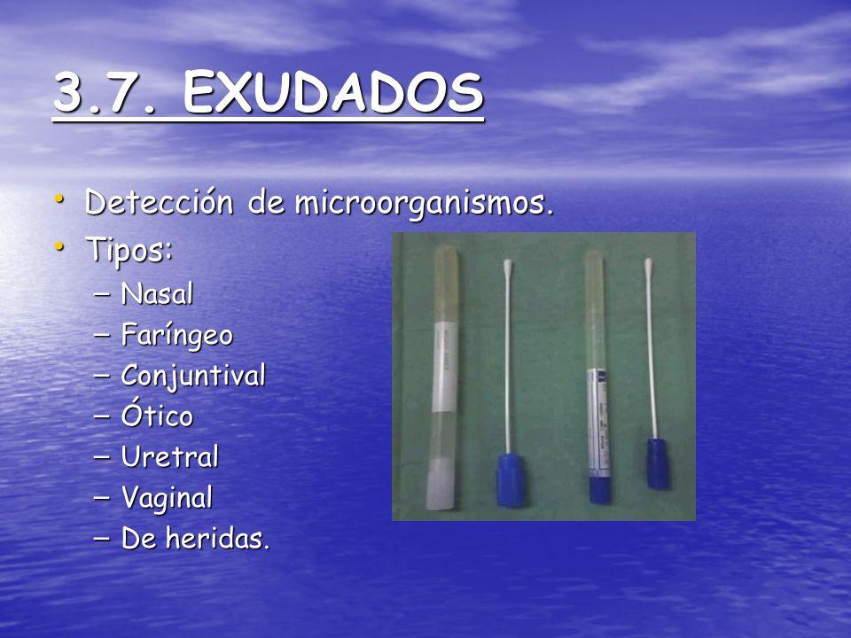 3.7. EXUDADOS Detección de microorganismos. Tipos: Nasal Faríngeo
