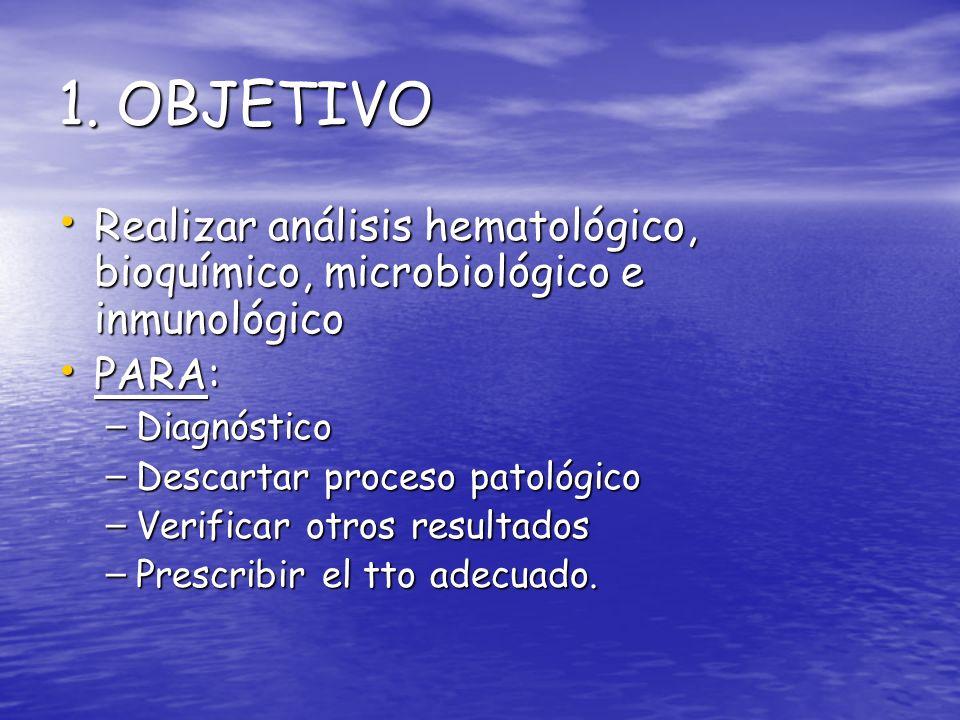 1. OBJETIVO Realizar análisis hematológico, bioquímico, microbiológico e inmunológico. PARA: Diagnóstico.