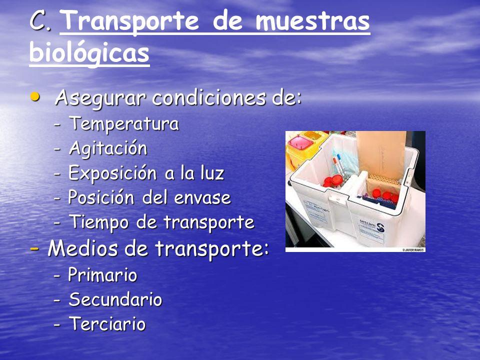 C. Transporte de muestras biológicas