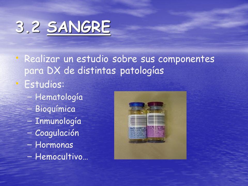 3.2 SANGRE Realizar un estudio sobre sus componentes para DX de distintas patologías. Estudios: Hematología.