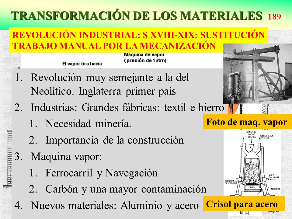TRANSFORMACIÓN DE LOS MATERIALES 189