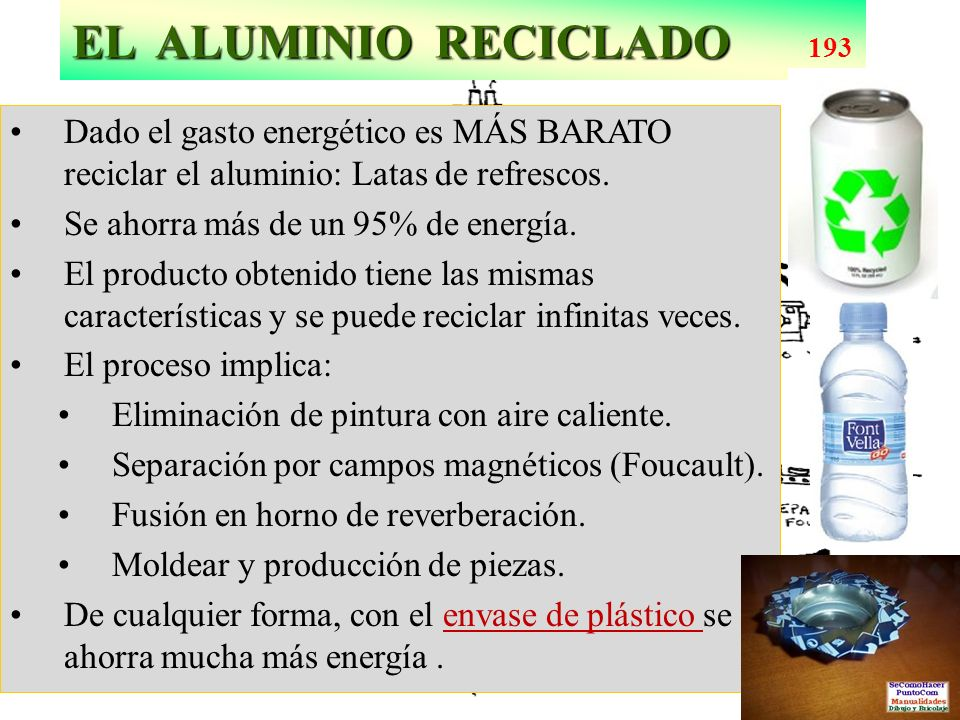 EL ALUMINIO RECICLADO 193 Dado el gasto energético es MÁS BARATO reciclar el aluminio: Latas de refrescos.