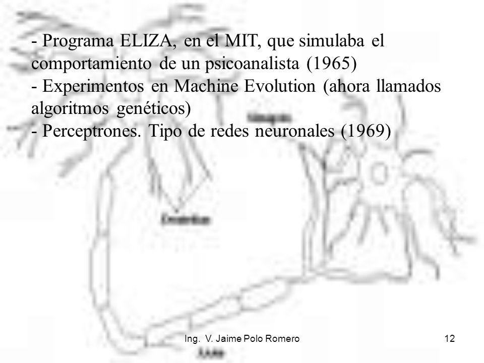 - Perceptrones. Tipo de redes neuronales (1969)
