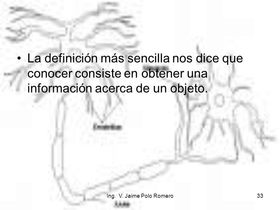 La definición más sencilla nos dice que conocer consiste en obtener una información acerca de un objeto.
