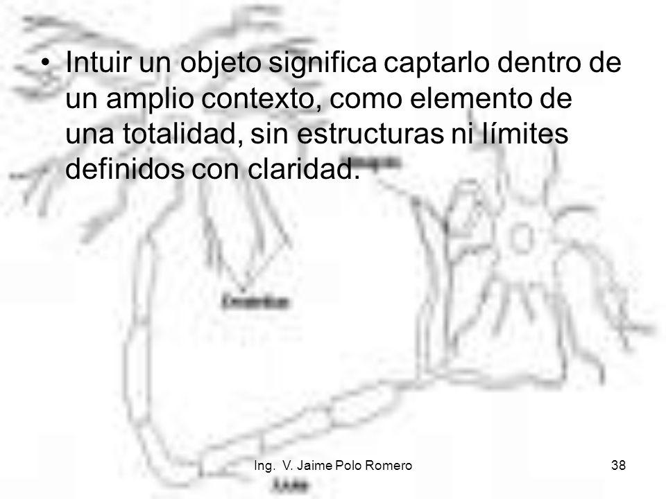 Intuir un objeto significa captarlo dentro de un amplio contexto, como elemento de una totalidad, sin estructuras ni límites definidos con claridad.