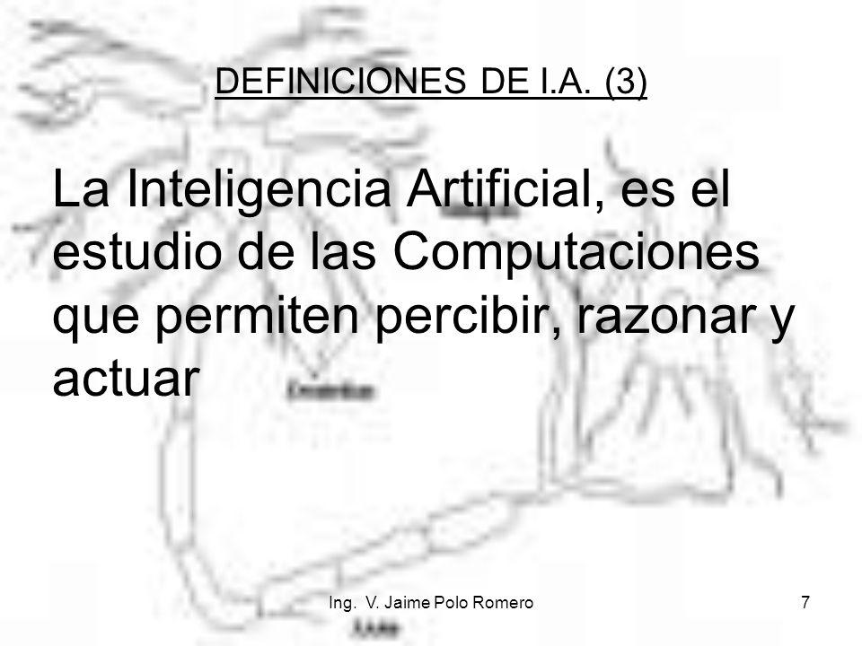 DEFINICIONES DE I.A. (3) La Inteligencia Artificial, es el estudio de las Computaciones que permiten percibir, razonar y actuar.