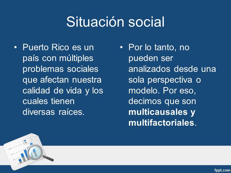 Situación social Puerto Rico es un país con múltiples problemas sociales que afectan nuestra calidad de vida y los cuales tienen diversas raíces.