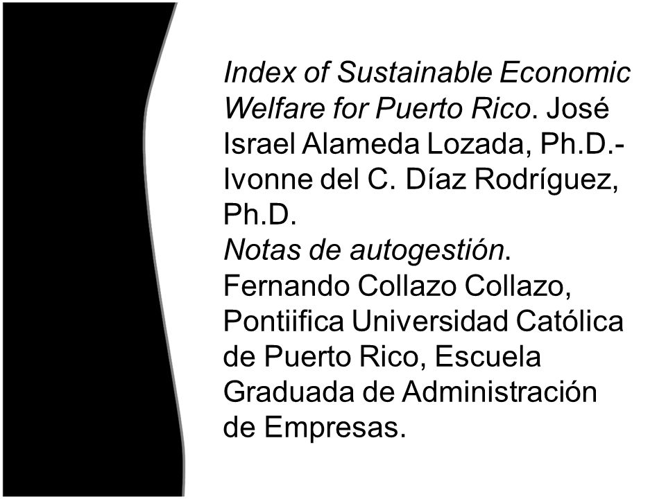 Index of Sustainable Economic Welfare for Puerto Rico
