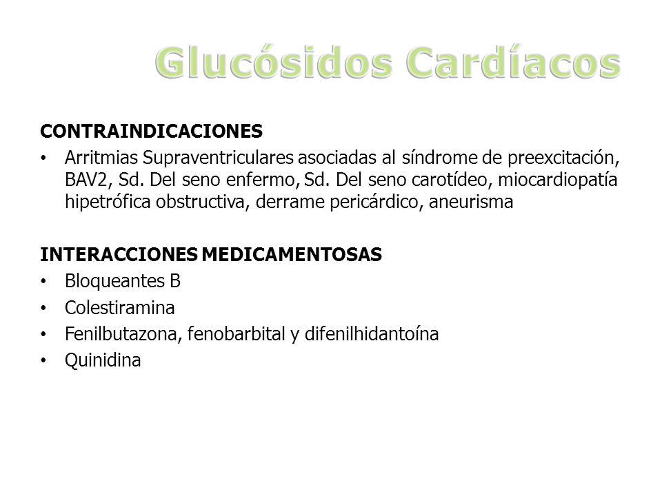 Glucósidos Cardíacos CONTRAINDICACIONES