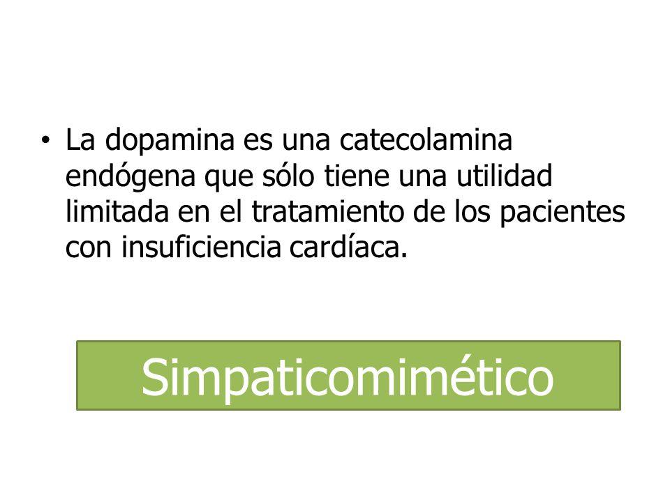 La dopamina es una catecolamina endógena que sólo tiene una utilidad limitada en el tratamiento de los pacientes con insuficiencia cardíaca.