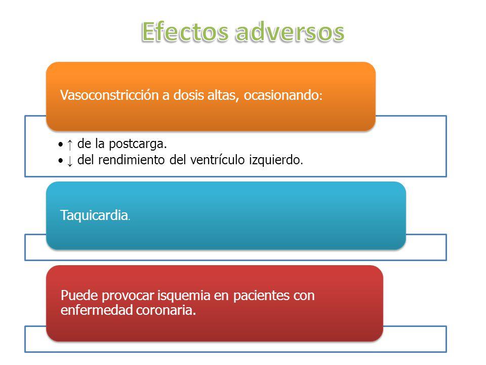 Efectos adversos Vasoconstricción a dosis altas, ocasionando: