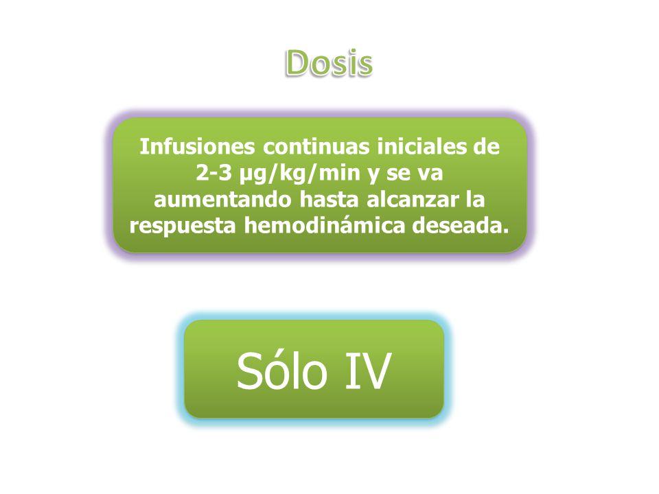 Dosis Infusiones continuas iniciales de 2-3 µg/kg/min y se va aumentando hasta alcanzar la respuesta hemodinámica deseada.