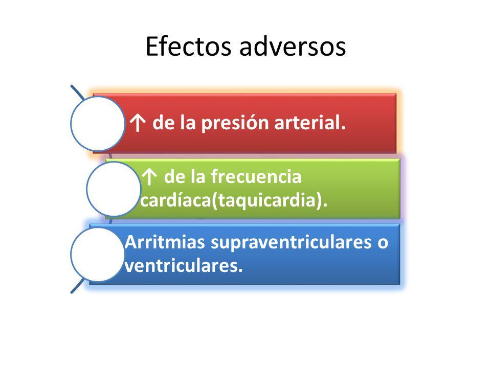 Efectos adversos ↑ de la presión arterial.