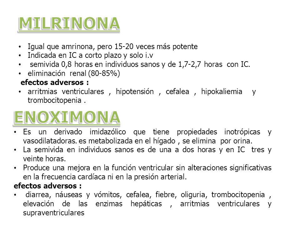 MILRINONA ENOXIMONA Igual que amrinona, pero 15-20 veces más potente