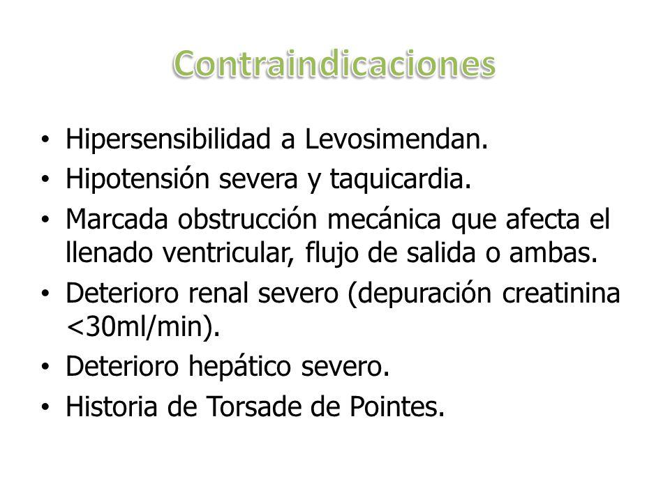 Contraindicaciones Hipersensibilidad a Levosimendan.