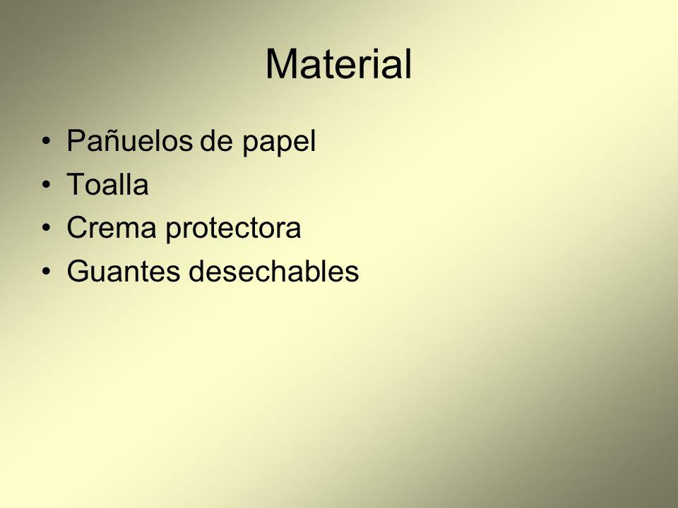 Material Pañuelos de papel Toalla Crema protectora Guantes desechables