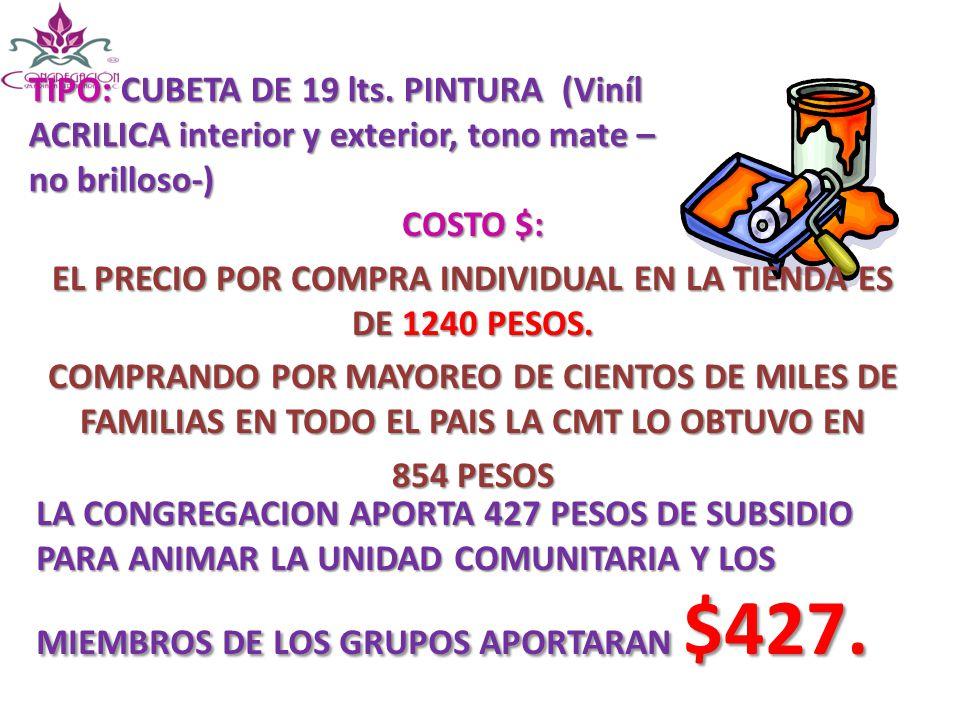 EL PRECIO POR COMPRA INDIVIDUAL EN LA TIENDA ES DE 1240 PESOS.