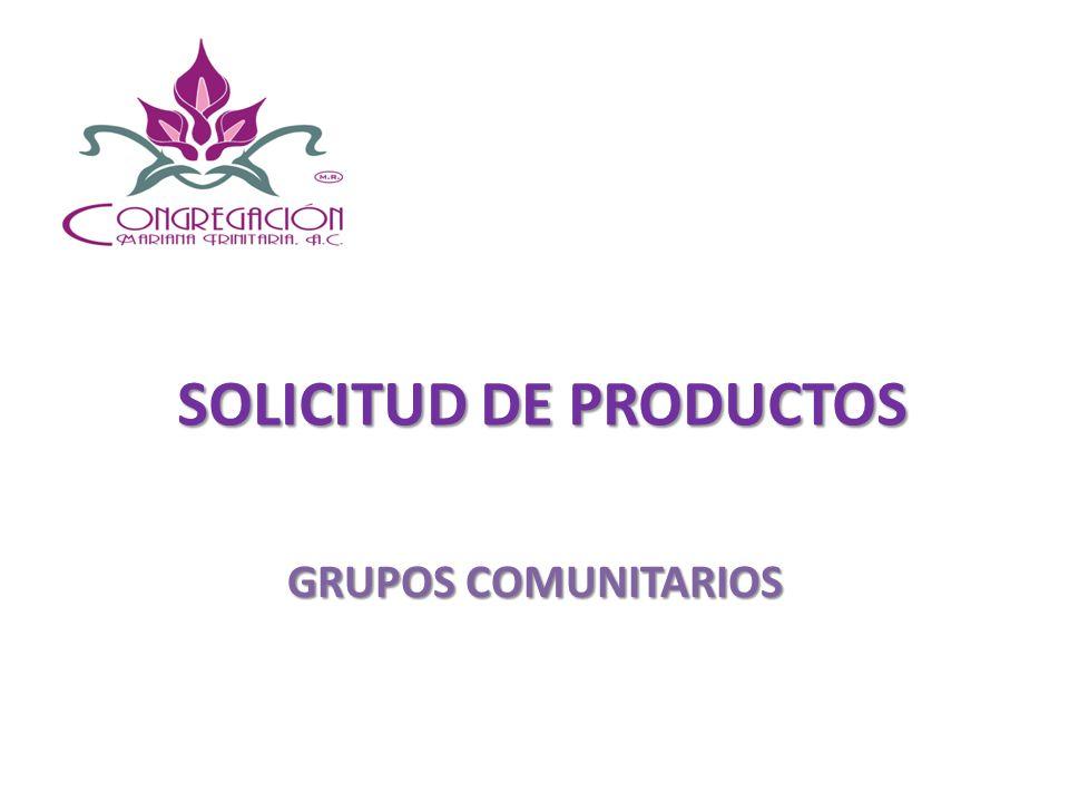 SOLICITUD DE PRODUCTOS