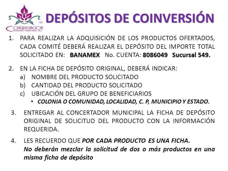 DEPÓSITOS DE COINVERSIÓN