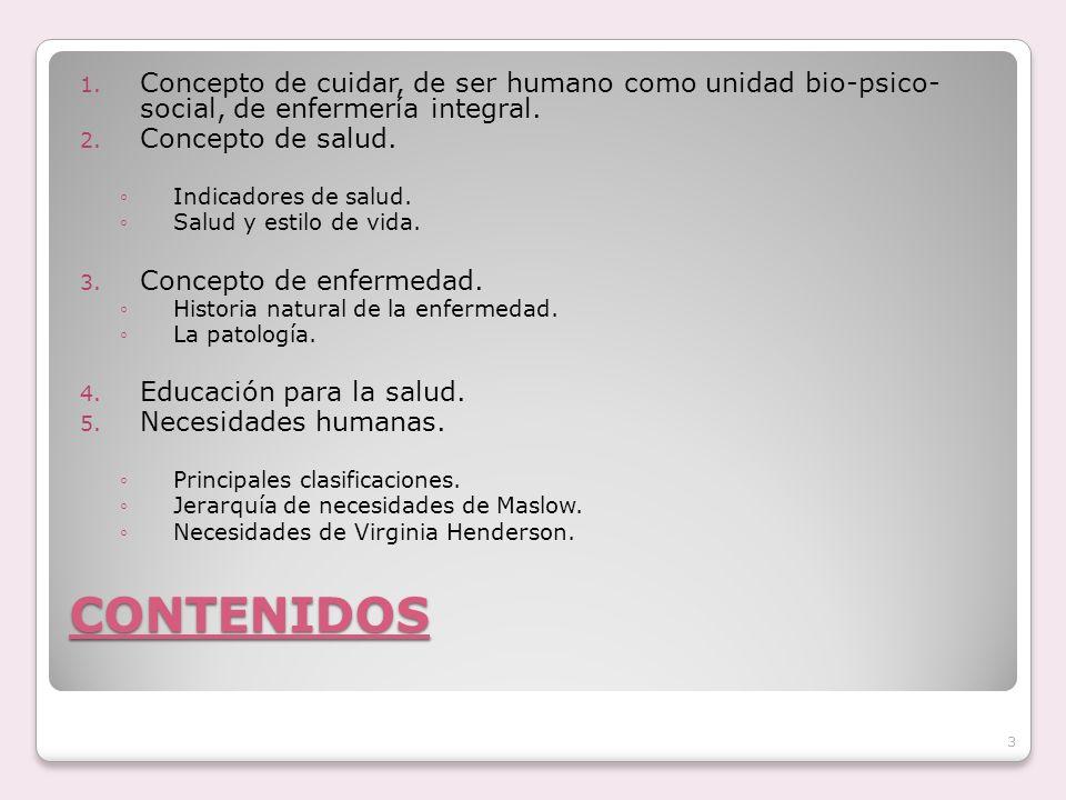 Concepto de cuidar, de ser humano como unidad bio-psico- social, de enfermería integral.