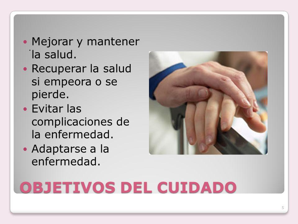 OBJETIVOS DEL CUIDADO Mejorar y mantener la salud.