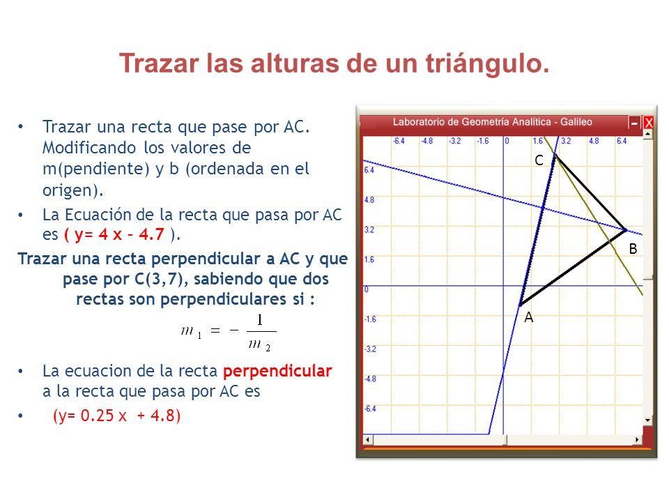 Trazar las alturas de un triángulo.