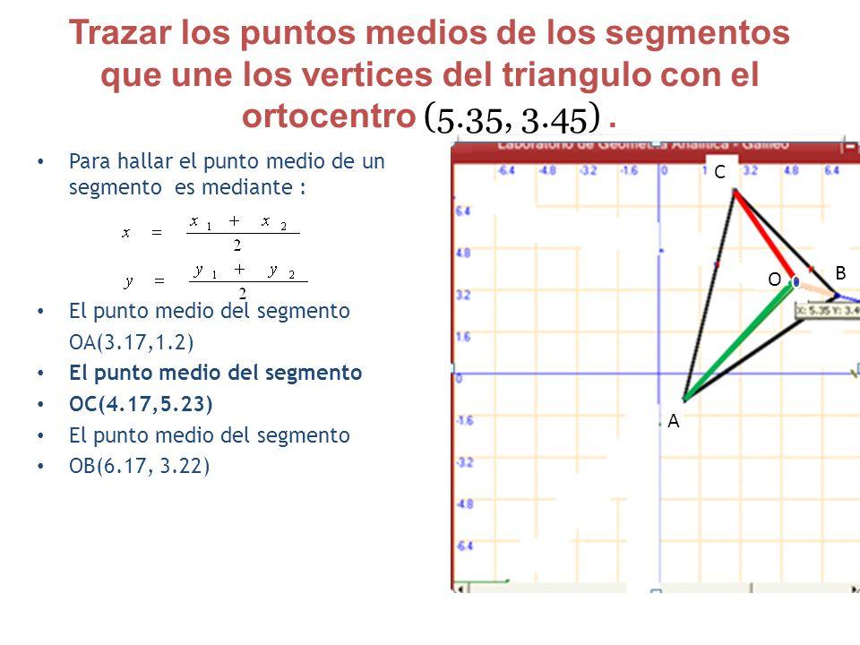 Trazar los puntos medios de los segmentos que une los vertices del triangulo con el ortocentro (5.35, 3.45) .