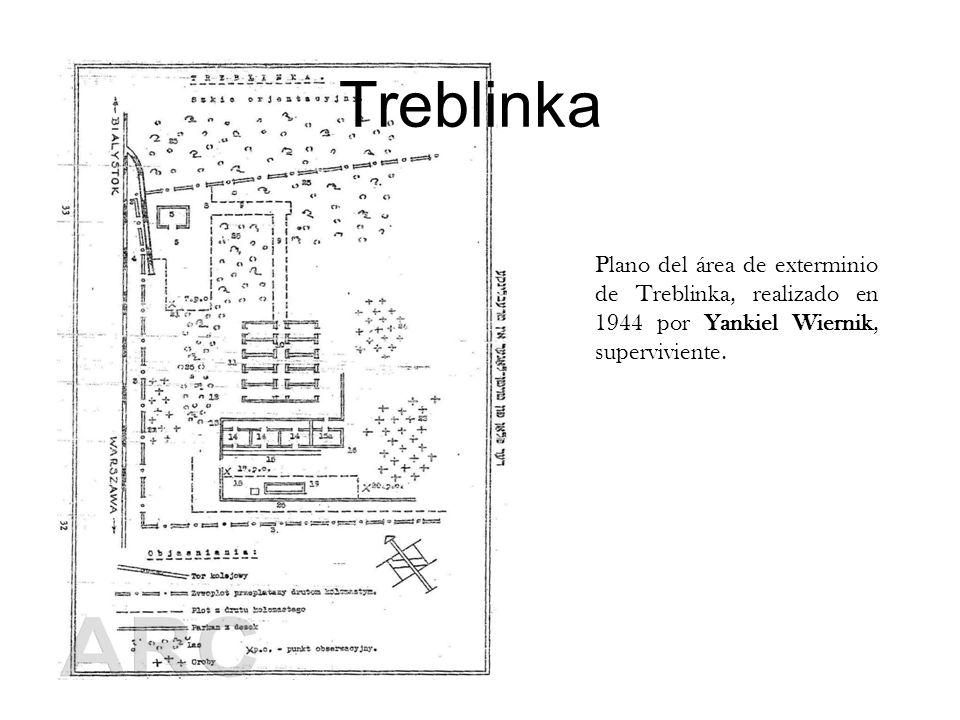 TreblinkaPlano del área de exterminio de Treblinka, realizado en 1944 por Yankiel Wiernik, superviviente.