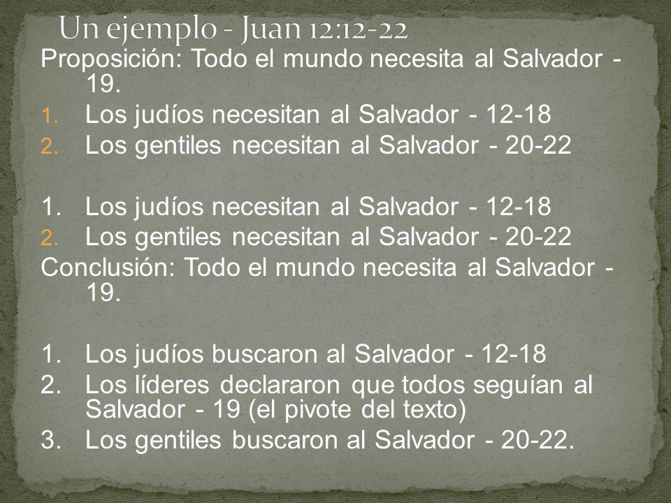 Un ejemplo - Juan 12:12-22 Proposición: Todo el mundo necesita al Salvador - 19. Los judíos necesitan al Salvador - 12-18.
