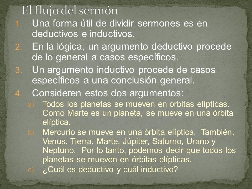 El flujo del sermón Una forma útil de dividir sermones es en deductivos e inductivos.