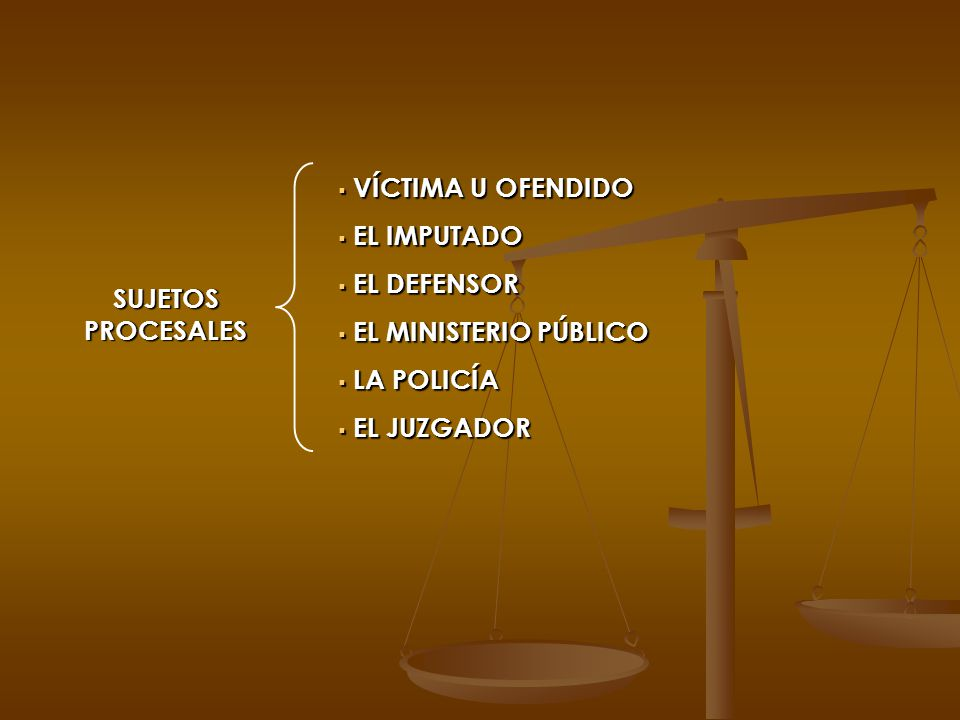 VÍCTIMA U OFENDIDO EL IMPUTADO. EL DEFENSOR. EL MINISTERIO PÚBLICO.