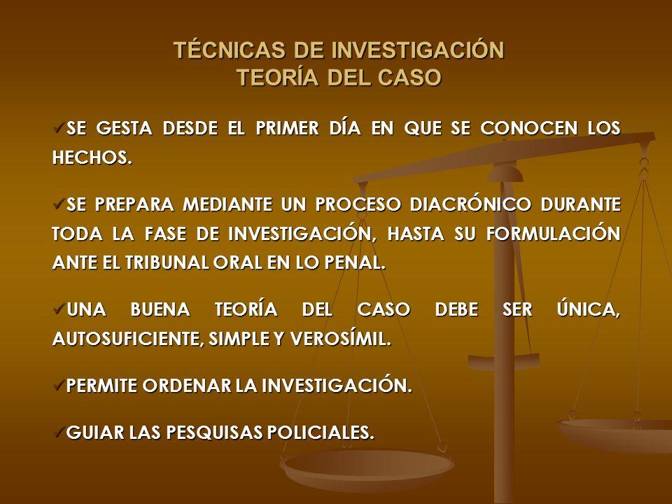 TÉCNICAS DE INVESTIGACIÓN TEORÍA DEL CASO
