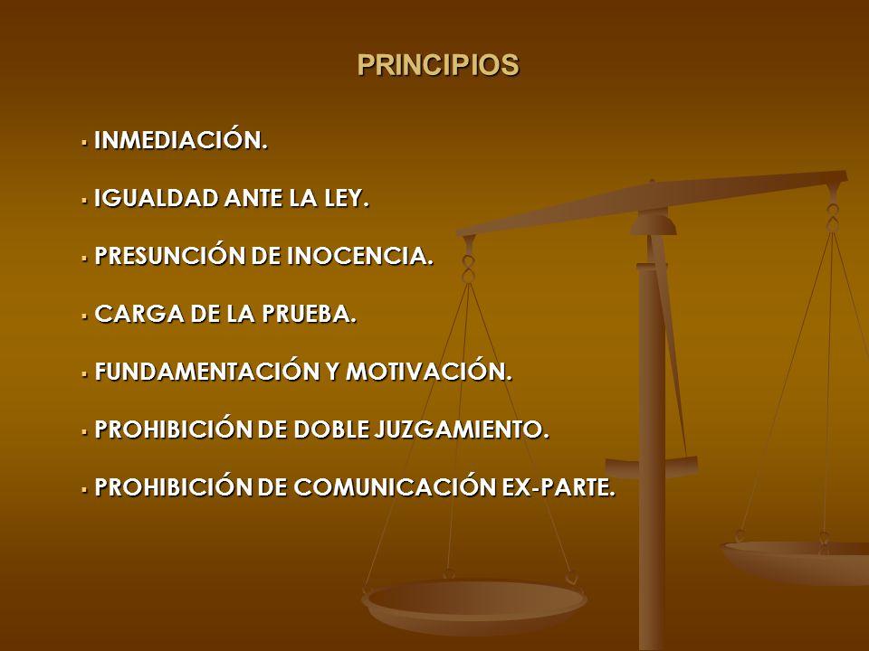 PRINCIPIOS INMEDIACIÓN. IGUALDAD ANTE LA LEY. PRESUNCIÓN DE INOCENCIA.