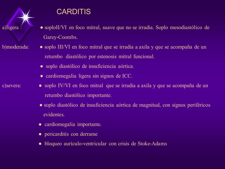 CARDITIS a)ligera : ● soploII/VI en foco mitral, suave que no se irradia. Soplo mesodiastólico de.