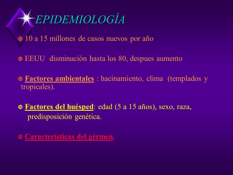 EPIDEMIOLOGÍA 10 a 15 millones de casos nuevos por año