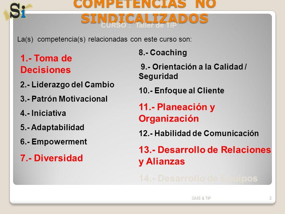 COMPETENCIAS NO SINDICALIZADOS