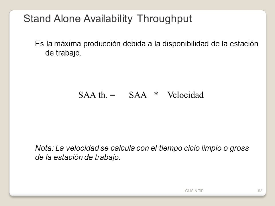 Stand Alone Availability Throughput