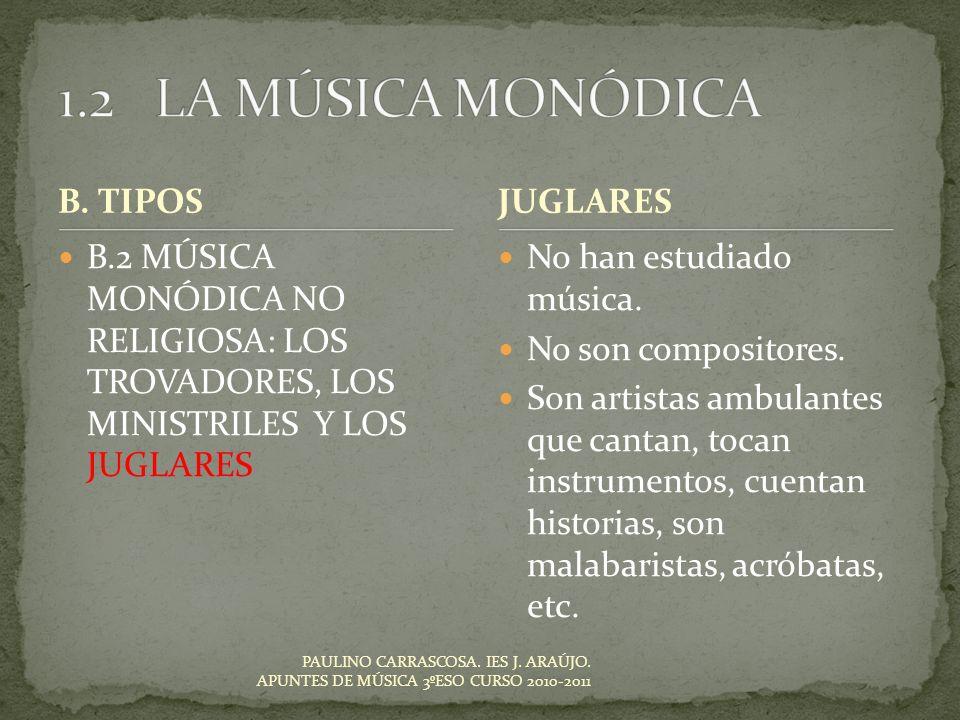 1.2 LA MÚSICA MONÓDICA B. TIPOS JUGLARES