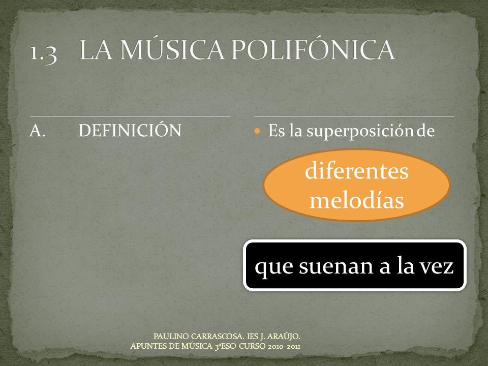 1.3 LA MÚSICA POLIFÓNICA diferentes melodías que suenan a la vez