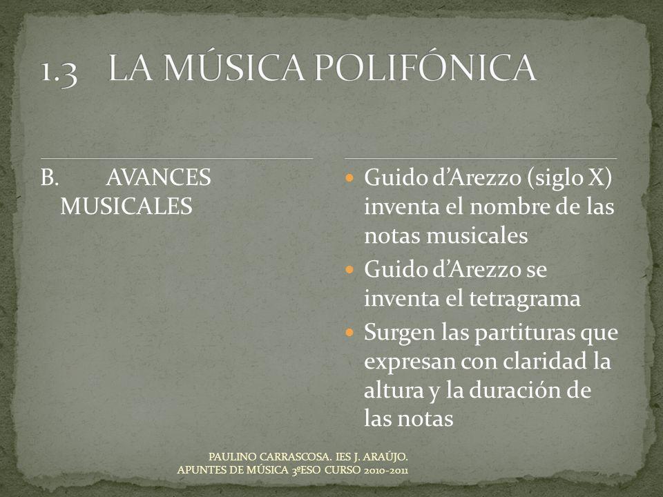 1.3 LA MÚSICA POLIFÓNICA B. AVANCES MUSICALES