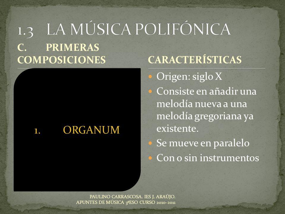 1.3 LA MÚSICA POLIFÓNICA 1. ORGANUM 1. ORGANUM