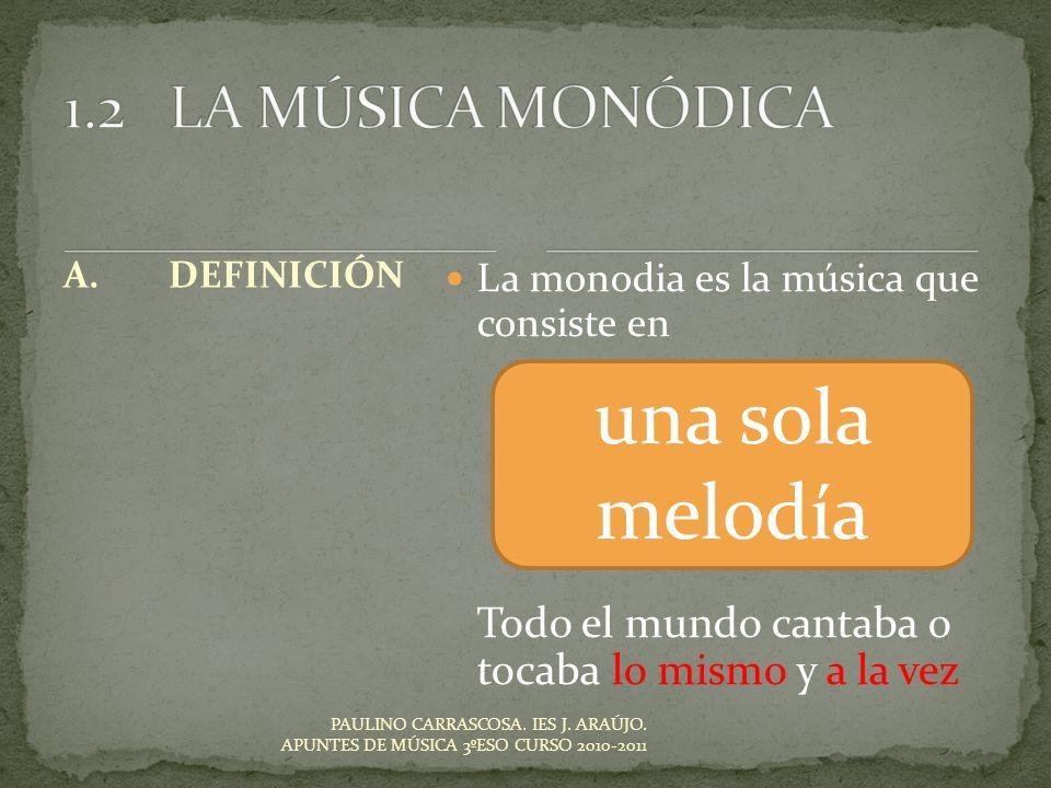 una sola melodía 1.2 LA MÚSICA MONÓDICA
